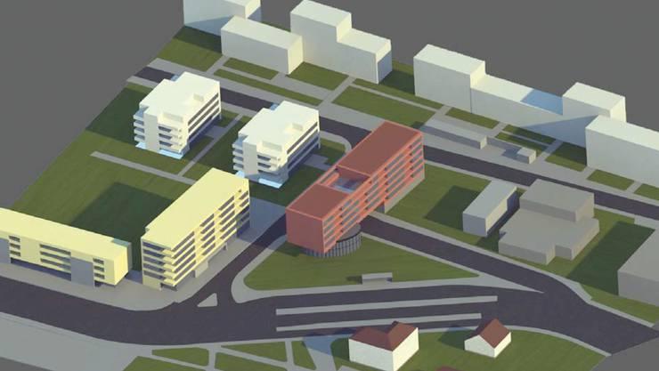 So könnte der Chilbiplatz dereinst aussehen: Mit einem Wohnhaus (in hellrot), das sich von der Mitte der Tramwendeschlaufe bis auf das hintere Grundstück der Kohler AG erstreckt. Die Badenerstrasse (vorne im Bild) wird verschoben.