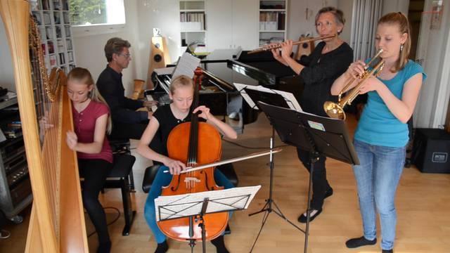 Das Familienorchester Bürger in Aktion.
