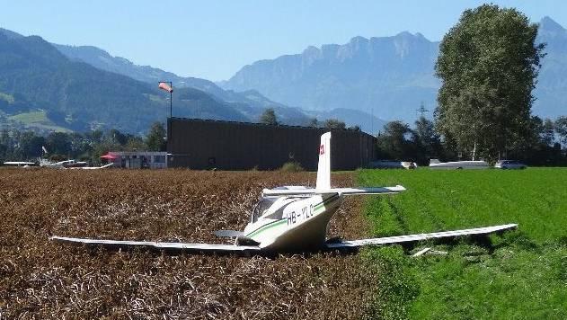 August 2016: Das Flugzeug von Walter K. nach der Notlandung in Bad Ragaz.
