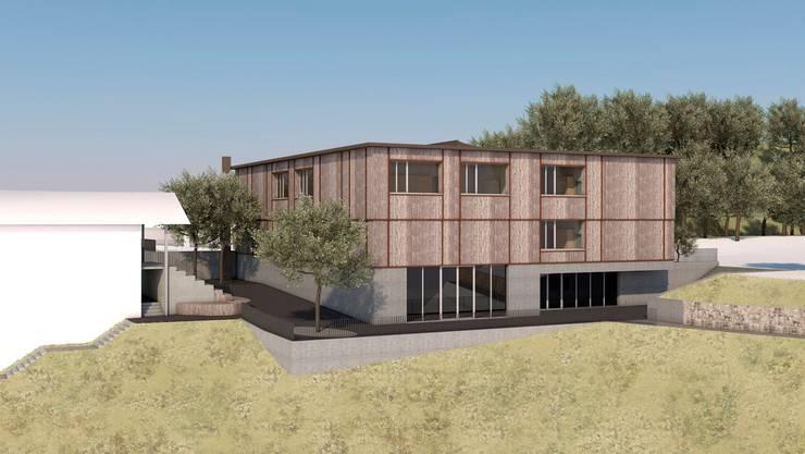 So sieht das neue Schulhaus, in dem die Primarschule untergebracht wird, von aussen aus. Visualisierung/Walker Architekten