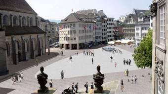 So soll der Münsterhof künftig aussehen – für den Brunnen ist ein anderes Modell vorgesehen.