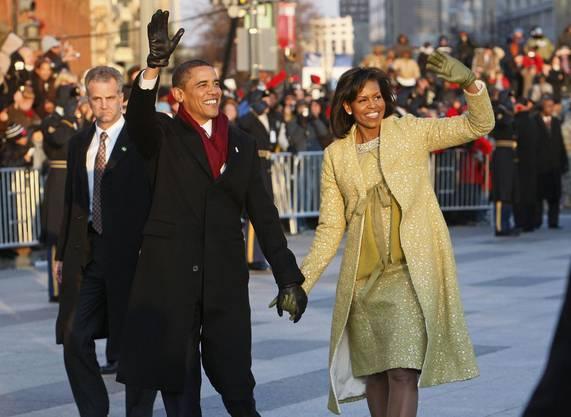 Michelle Obama 2009: Die First Lady zeigt sich beim Amtsantritt äusserst modisch.