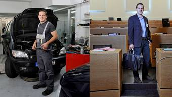 Flurin Burkard in seiner Autowerkstatt und im Grossratssaal