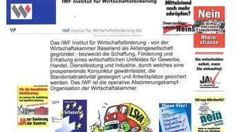 Diese Selbstdarstellung der IWF AG stammt aus jener Präsentation, mit der sie 2009 für ihre Kampagne gegen die «Totalsanierungsinitiative» bei Unternehmen der chemischen Industrie 1,35 Millionen Franken einwerben wollte.