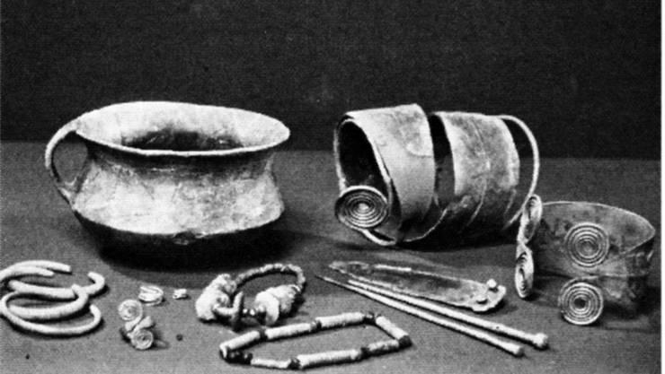 Beim Kahlschlag des Waldes im Weininger Hardwald kamen fünf Hügelgräber aus der mittleren Bronzezeit (1500 bis 1300 vor Christus) samt Beigaben zum Vorschein.
