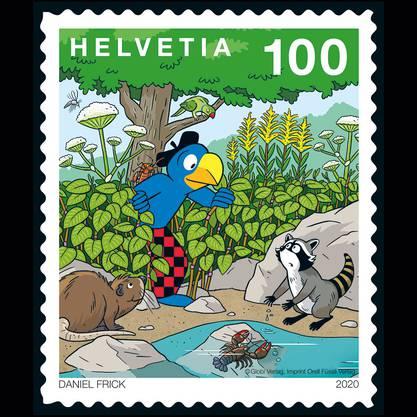 Die neue A-Post Briefmarke mit der beliebten Schweizer Kinderbuch-Figur Globi als Sujet.