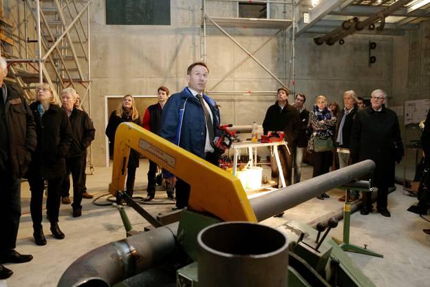 In der Maschinenhalle, in der dereinst die Wärme-Kraft-Koppelungs-Anlage stehen wird