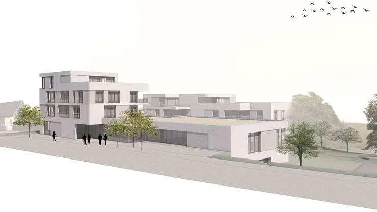 An der Hauptstrasse entsteht eine neue Überbauung. Unter anderem sind 20 Wohnungen und zwei Tiefengaragen vorgesehen.