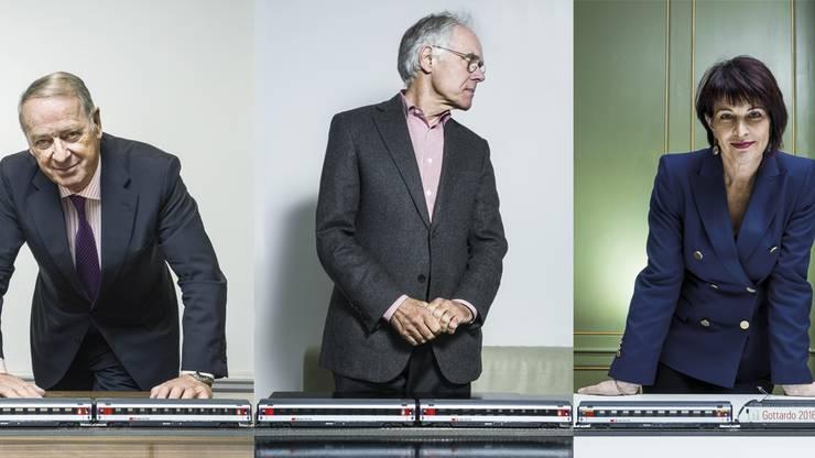 Der Bundesrat beschäftigt sich seit Jahrzehnten mit dem Gotthard. Federführend waren und sind die drei (ehemaligen) Verkehrsminister Adolf Ogi, Moritz Leuenberger und Doris Leuthard.