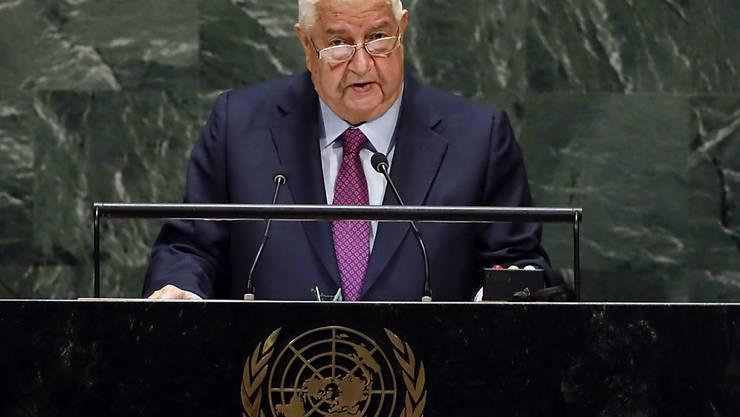 ARCHIV - Walid al-Muallim, Außenminister von Syrien, spricht während der 74. Tagung der Generalversammlung der Vereinten Nationen. Foto: Richard Drew/AP/dpa