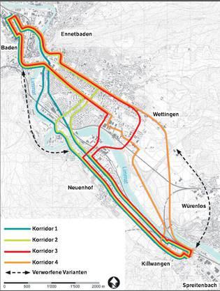 Limmattalbahn: die möglichen Korridore bis nach Baden.