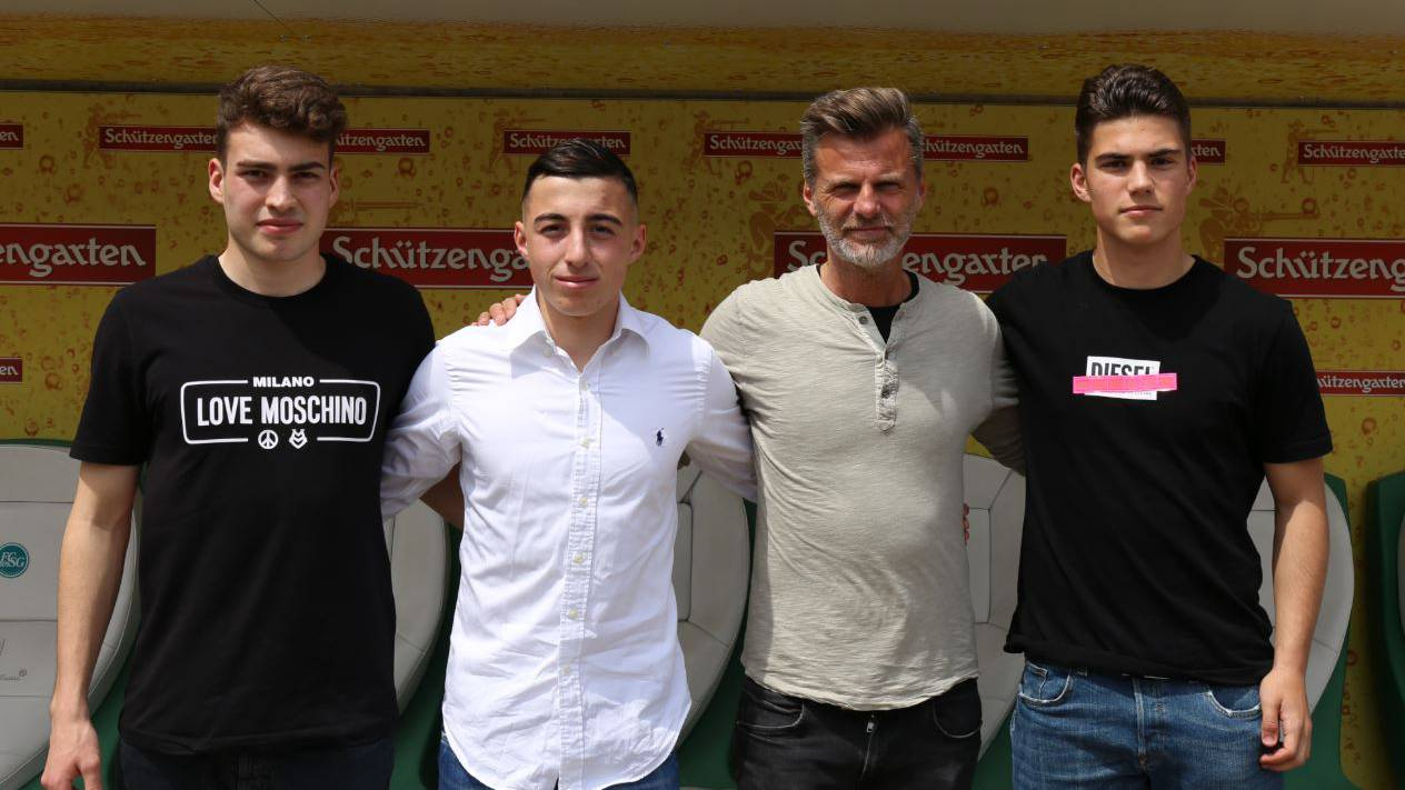 Tim Staubli, Fabio Solimando, Sportchef Alanin Sutter und Angelo Campos. (v.l.n.r.)