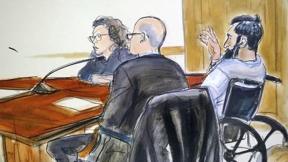 Im Rollstuhl: Attentäter Saipov bei der Anklageverlesung.