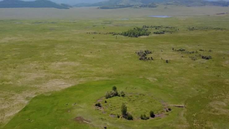 Blick auf den Grabhügel Tunnug 1 (Arschan 0). Während die übrigen Kurgane der Region auf einer Terrasse angelegt wurden, liegt Tunnug 1 tief in einem Sumpf.