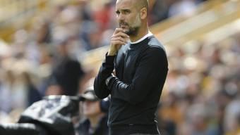 Kritischer Blick: Pep Guardiola beobachtet seine Spieler im Spiel gegen Aufsteiger Wolverhampton