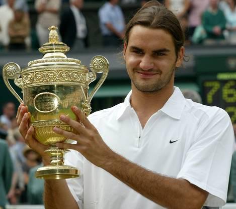1) Der Anfang einer Ära. Roger Federer gewinnt in Wimbledon 2003 den Final gegen Mark Philippousis mit 7:6 (7:5), 6:2, 7:6 (7:3).