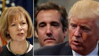 US-Senatorin und Pharmakritikerin Smith links, rechts Anwalt Michael Cohen mit seinem früheren Arbeitgeber Donald Trump.
