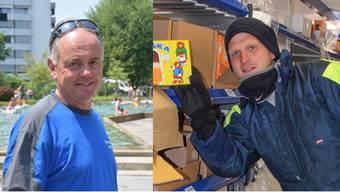 Links: Stefan Meiers Job ist keine Schoggi-Arbeit. Rechts: Michele Raso bei –25 Grad im Le-Shop-Tiefkühllager.