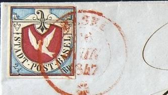 """Das """"Basler Dybli"""" auf einem Briefumschlag (Archiv)"""