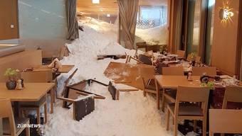 Die Lawine hat das Hotel Säntis schwer beschädigt. Laut der Ausserrhoder Kantonspolizei soll es verletzte Personen geben.