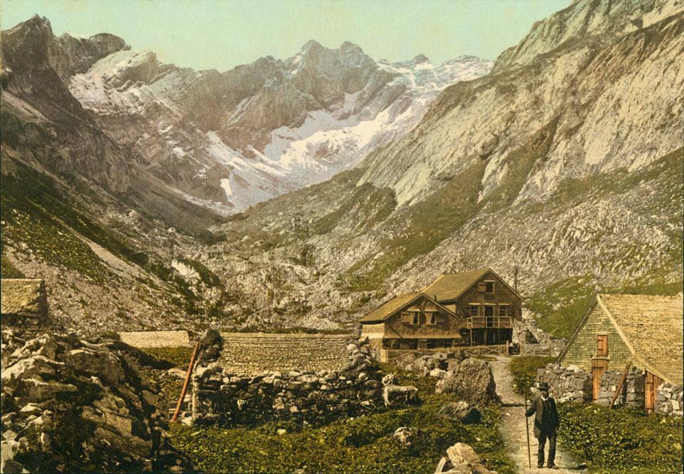 Berggasthaus Meglisalp – früher und heute (© Das Berggasthaus Meglisalp um 1860.)