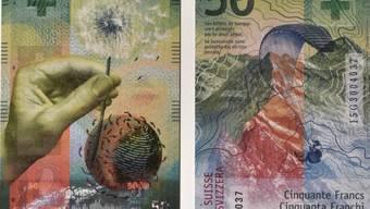 Wind, Hand, Weltkugel: Die Schweizer 50-Franken-Note.