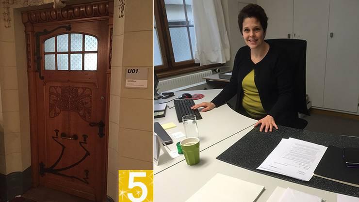 Die Tür zum Büro von Regierungssprecherin Andrea Affolter