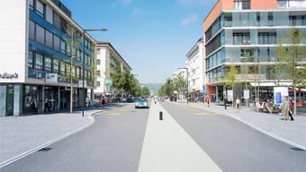 So soll sich die Landstrasse im Zentrumsbereich künftig präsentieren: mit einem Mehrzweckstreifen, neuen Sitzgelegenheiten und Veloabstellplätzen. Visualisierung/zvg