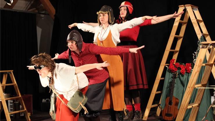 Im Anflug: Die vier Plissé-Damen begeisterten mit ihrer «Kalberei».