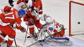 Die Entscheidung: Vrbata erzielt das 2:0 gegen Weissrussland.