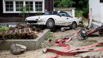 Grund für den Anstieg der Nachfrage nach Naturkatastrophen-Versicherungen sind laut Swiss Re unter anderem die häufigeren extremen Wetterereignisse. Im Bild: Überschwemmungen vom Juli in Altstätten