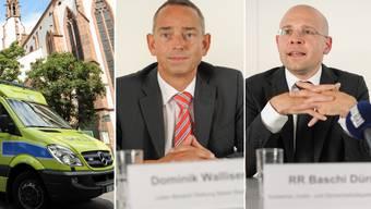 Dominik Walliser, Leiter Rettung Basel-Stadt (links), geniesst vollstes Vertrauen von Sicherheitsdirektor Baschi Dürr.