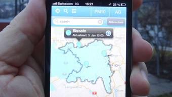 Farbe Blau – die Luft ist rein: Feinstaubbelastung bei der Messstation Sisseln, angezeigt auf der Aircheck-App.