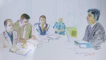 Die Angeklagten: Guido S., Patric S. und Ruth S.