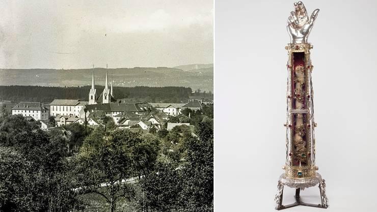 Das Reliquiar des heiligen Theodor, 1611, Silber, teilvergoldet, ist im Museum Kloster in Muri zu bewundern. Links: Eine historische Aufnahme des Klosters.