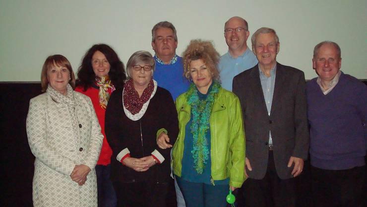 Für 2018 gewählter Vorstand von links nach rechts: Shirley Bergman, Martina Lack, Susie Fieldhouse, Adrian Allen, Isabelle Hadley, Stephen Barber, Frédéric Falbriard, Ian Bergman (President). Fehlt auf Foto: Beat Herzig.
