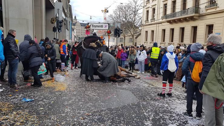 Ein Pferd, das eine Chaise gezogen hatte, war am Steinenberg auf einer Steinplatte ausgerutscht und gestürzt.