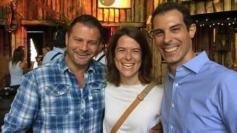 Der Döttinger Unternehmer Markus Birchmeier (l.) mit FDP-Präsidentin Petra Gössi und Nationalrat Thierry Burkart. zvg