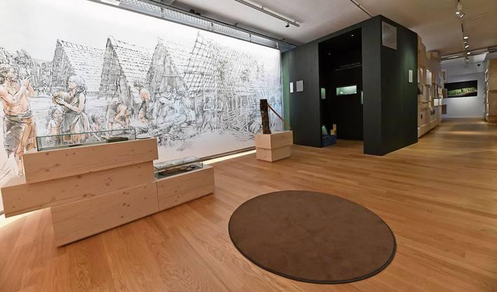 Blick in die neue Ausstellung des Archäologischen Museums Kanton Solothurn. Der runde Teppich bringt ein Hörerlebnis.