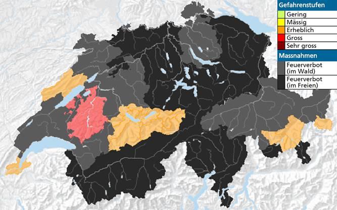 Waldbrandgefahr und Feuerverbot in der Schweiz