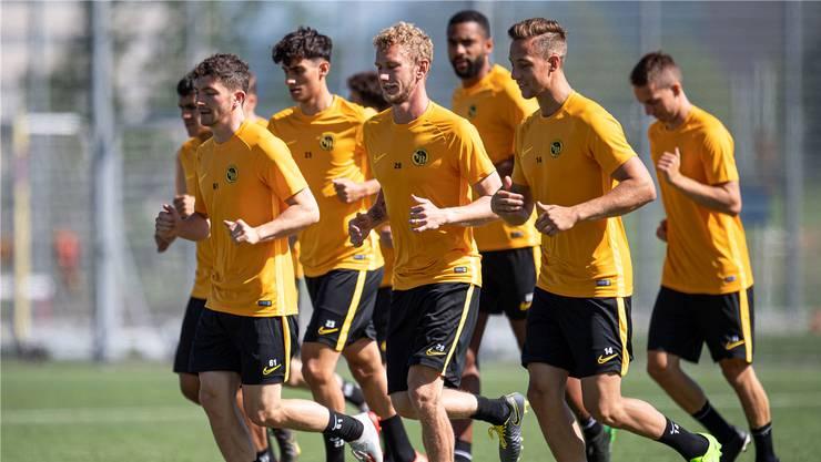 Drei der smarten Zuzüge der Young Boys auf die neue Saison hin (v.l.n.r.): Linus Obexer, Fabian Lustenberger und Nicolas Bürgy im Training.