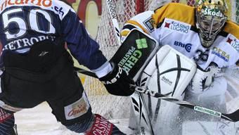 Lugano-Goalie Caron klärt gegen Metropolit