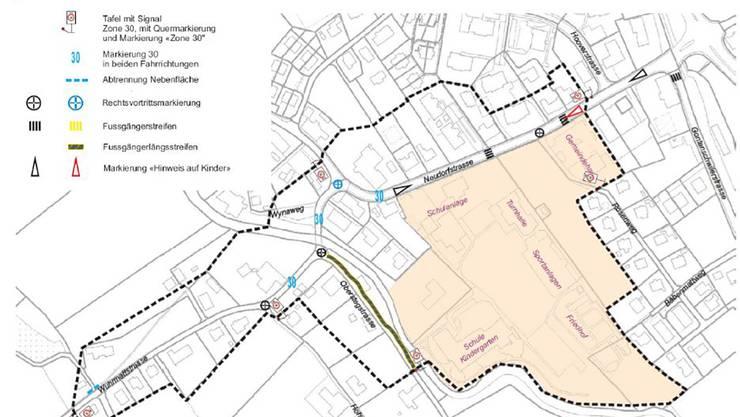 Im Bereich Schulanlage sowie Wuhrmattstrasse soll Tempo 30 eingeführt werden.