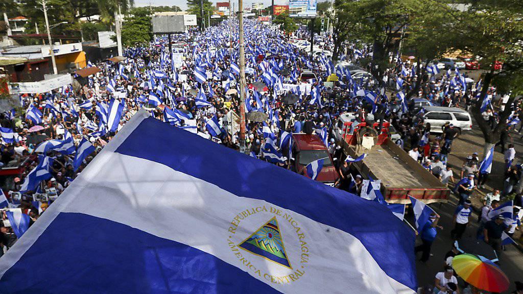 Grossprotest gegen Nicaraguas Präsident Daniel Ortega in der Hauptstadt Managua.
