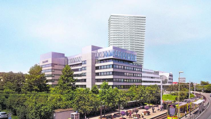 Das Gebäude, wo früher das Modehaus Spengler seinen Hauptsitz hatte, ist heute fünfstöckig. An der nordwestlichen Ecke soll ein 100Meter hoher Bau anschliessen, mit dem insgesamt 188 neue Wohnungen möglich sind – falls der Souverän zustimmt.
