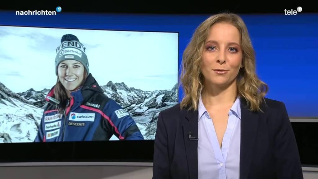 Wendy Holdener mit Fallschirm