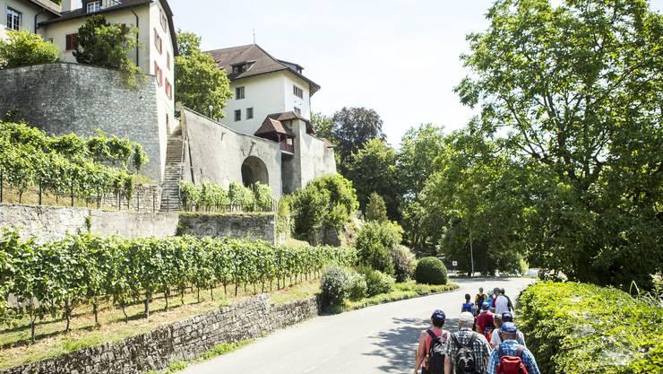Schlösser und Burgen bewanderten die Teilnehmerinnen und Teilnehmer der diesjährigen 15 Leserwandern-Etappen besonders oft, wie hier das Schloss Biberstein bei Aarau auf der 10. Etappe. Schloss Wartenfels und die Ruine Farnsburg sind weitere Beispiele.