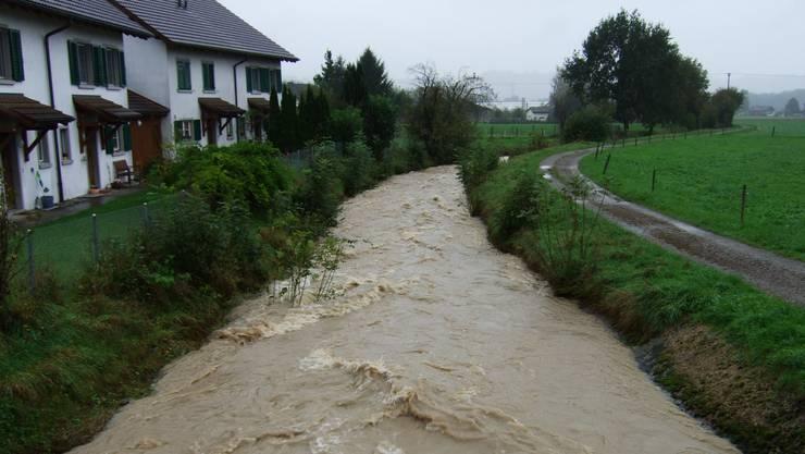 Ein Foto vom Hochwasser 2012 in Jonen. Ab Mai diesen Jahres werden im Dorf Schutzmassnahmen gebaut.