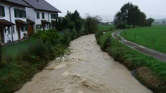Ein Foto vom Hochwasser 2012 in Jonen. Ab Mai dieses Jahres werden im Dorf Schutzmassnahmen gebaut.