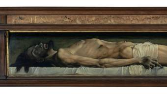 Hans Holbein d. J.: (1497/1498–1543): «Der tote Christus im Grab», 1521–1522, Öl auf Lindenholz, 32,4×202,1 cm. Kunstmuseum Basel (Ausschnitt)
